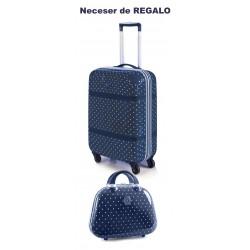 Trolley Cabina Victorio y Lucchino Lunares Azul + Neceser de Regalo