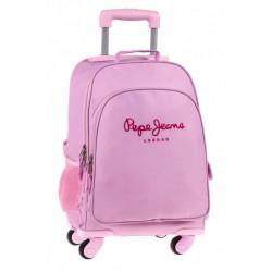 Mochila Escolar 4 Ruedas Pepe jeans  Pink