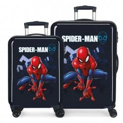 Juego Maletas Cabina y Mediana en ABS  con 4 Ruedas Spiderman Action