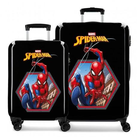 Juego Maletas Cabina y Mediana Rígidas en ABS de 4 Ruedas Spiderman Geo Negro