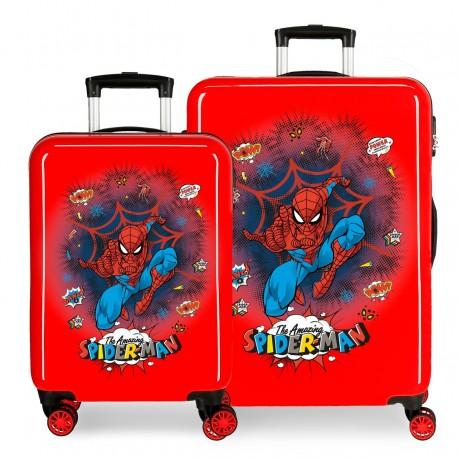 Juego Maletas Cabina y Mediana en ABS Spiderman Pop Rojo