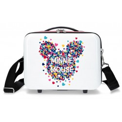 Neceser con Asa y Bandolera, Adaptable a Trolley -  Minnie Mouse Magic en Blanco/Fucsia