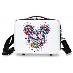 Neceser con Asa y Bandolera, Adaptable a Trolley -  Minnie Mouse Magic en Blanco/Fucsia