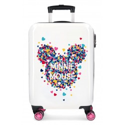Maleta de Cabina Rígida en ABS Minnie Mouse Magic Blanco - Fucsia