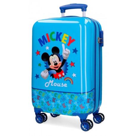 Maleta de Cabina Rígida en ABS Mickey Stars Azul