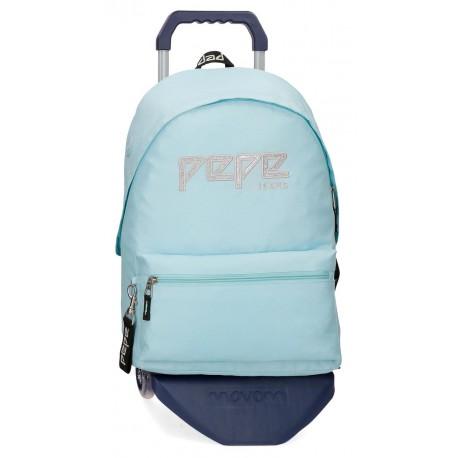 Mochila Grande 42cm de Bolso Frontal con Carro Pepe Jeans Uma Azul