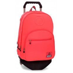 Mochila Grande 46cm Doble Compartimento y Bolso Frontal con Carro Enso Basic Color Coral