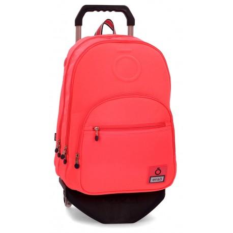 Mochila Grande 46cm Doble Compartimento y Bolso Frontal con Carro Enso Basic Color Coral