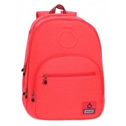 Mochila Grande 46cm Doble Compartimento y Bolso Frontal Adaptable a Carro Enso Basic Color Coral