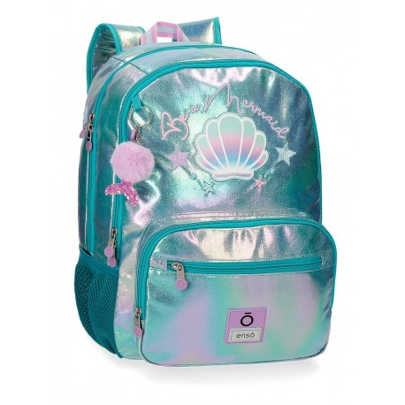 Mochila Grande 44cm Doble Comportamiento y Bolso Frontal  Adaptable a Carro enso Be Mermaid