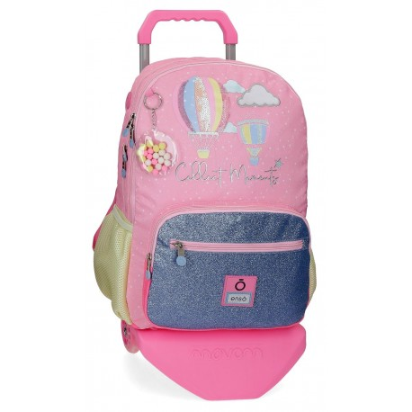 Mochila Grande de 44cm con Doble Compartimento y Bolso Frontal con Carro  Enso Collect Moments