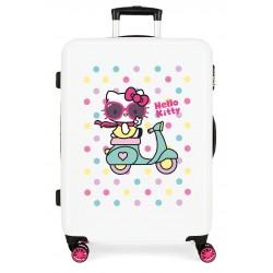 Maleta Mediana en ABS de 4 Ruedas dobles  Hello Kitty Girl Gang Blanco