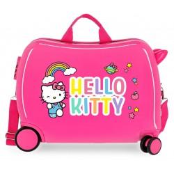 Maleta Infantil Correpasillos de 4 Ruedas Hello Kitty You Are Cute en Color Rosa