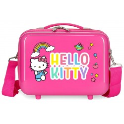 Neceser Rígido en ABS con Bandolera Hello Kitty You Are Cute en Color Rosa