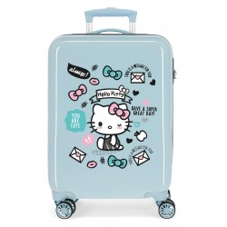 Maleta de Cabina Rígida en ABS de 4 ruedas Hello Kitty You Are Cute en Color Azul