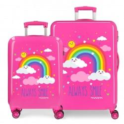 Juego de Maletas Cabina y Medianas Rígidas en ABS de 4 Ruedas Movom Always Smile en Color en Color Rosa
