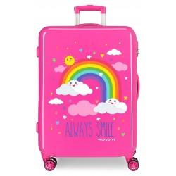 Maleta Mediana Rígida en ABS de 4 Ruedas Movom Always Smile en Color Rosa