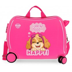 Maleta Infantil Correpasillos de 4 ruedas Patrulla Canina Playful en Color Rosa