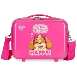 Neceser Rígido en ABS Adaptable a Trolley con Bandolera Patrulla Canina Playful en Color Rosa