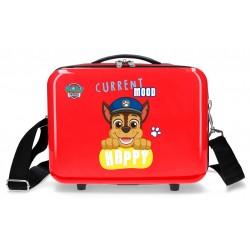 Neceser Rígido en ABS Adaptable a Trolley con Bandolera Patrulla Canina Playful en Color Rojo