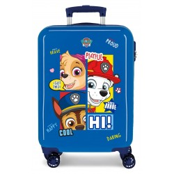 Maleta de Cabina Rígida en ABS de 4 Ruedas Patrulla Canina Be Happy en Color Azul