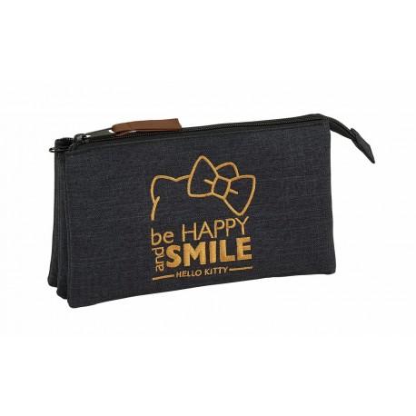 Portatodo de Tres Compartimentos Hello Kitty en color Negro