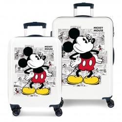 Juego Maletas Cabina y Mediana en ABS de 4 Ruedas Dobles Mickey Comic en color Blanco