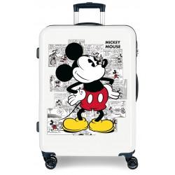 Maleta Mediana Rígida en ABS de 4 Ruedas Dobles Mickey Comic  en Color Blanco