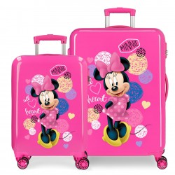 Juego de Maletas Cabina y Mediana Rígidas en ABS con 4 Ruedas Love Minnie en Color Rosa
