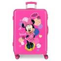 Maleta Mediana Rígida en ABS de 4 Ruedas Dobles Love Minnie en Color Rosa