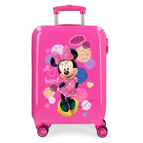 Maleta Cabina Rígida en ABS de 4 Ruedas Love Minnie en Color Rosa