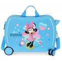 Maleta Infantil Correpasillos de 4 Ruedas, delanteras Multidireccionales, Love Minnie Azul