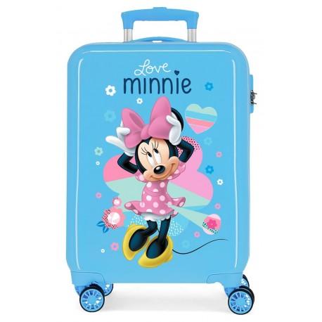 Maleta de Cabina Rígida en ABS de 4 Ruedas Love Minnie en Color Azul