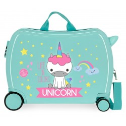 Maleta  Infantil Correpasillos de 4 Ruedas Roll Road Little Me Unicorn Color Turquesa