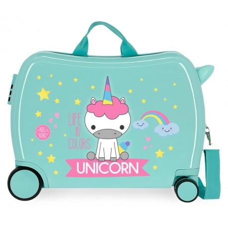 Maleta  Infantil Correpasillos de 4 Ruedas Roll Road Little Me Unicorn Color Turquesa