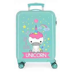 Maleta de Cabina Rígida en ABS de 4 Ruedas Roll Road Little Me Unicorn en Color Turquesa