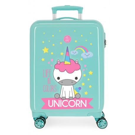 Maleta de Cabina Rígida en ABS de 4 Ruedas Roll Road Little Me Unicorn en Color Turquesa