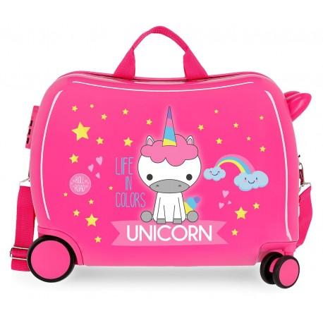 Maleta Infantil de 4 ruedas en ABS con Asa y Bandolera Roll Road Little Me Unicorn Fucsia