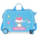 Maleta Infantil Correpasillos en ABS con Bandolera  Roll Road Little Me Unicorn Azul