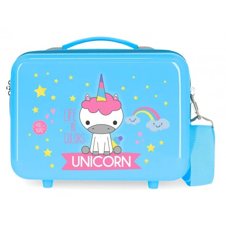 Neceser en ABS Adaptable a Trolley con Bandolera Roll Road Little Me Unicorn en Color Azul