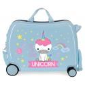 Maleta Infantil Correpasillos de 4 Ruedas en ABS Roll Road Little Me Unicorn Azul Claro