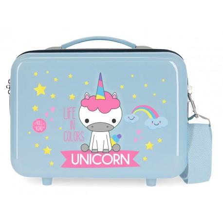 Neceser Rígido en ABS con Bandolera y Adaptable a Trolley Roll Road Little Me Unicorn en Color azul claro