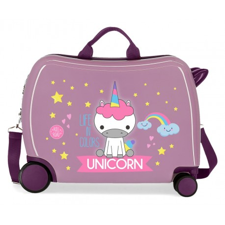 Maleta Infantil Correpasillos en ABS de 4 Ruedas Roll Road Little Me Unicorn en color Lila