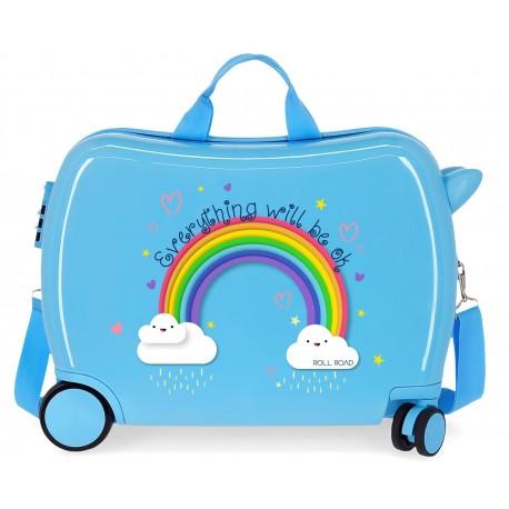 Maleta Infantil Correpasillos de 4 Ruedas con Asa y Bandolera Roll Road Arcoiris Everything Ok en color Azul