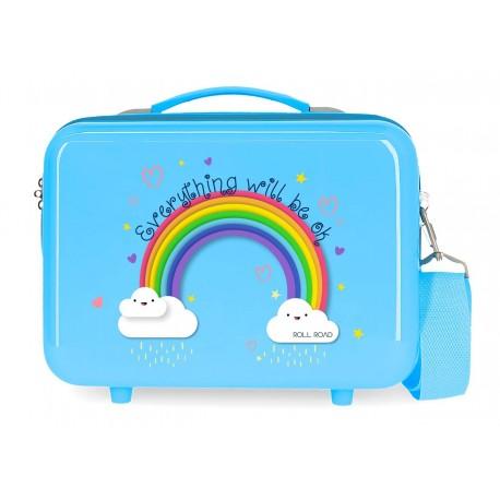 Neceser en ABS Adaptable a Trolley con Bandolera Roll Road Arcoiris Everything Ok en color Azul