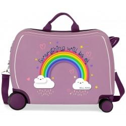 Maleta Infantil Correpasillos de 4 Ruedas con Asa y Bandolera Roll Road Arcoiris Everything Ok en color Lila