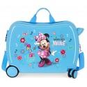 Maleta Infantil Correpasillos en ABS de 4 Ruedas Minnie Stickers en color Azul
