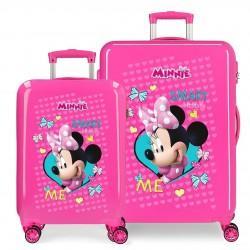 Juego Maletas Cabina y Mediana Rígidas en ABS de 4 Ruedas Minnie Happy Helpers en color rosa