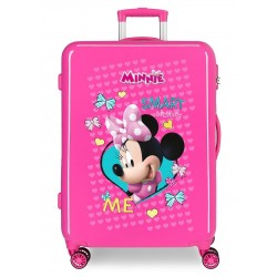 Maleta Mediana Rígida en ABS de 4 Ruedas Minnie Happy Helpers color rosa