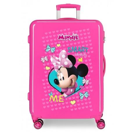 Maleta Mediana Rígida en ABS de 4 Ruedas Minnie Happy Helpers color rosa